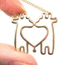 animal gold necklace images Dotoly plus simple giraffe heart love animal charm outline JPG