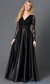 Black Cocktail Dresses With Sleeves Long Sleeve Lace Bodice Long Black Formal Gown Dress Formal