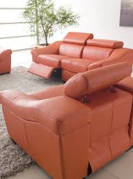 european style living room set in orange leather with recliners