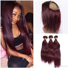 silky straight wine red full frontal 360 band lace frontal closure