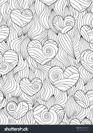 seamless pattern abstract waves hearts zentangle stock vector