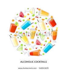 collection popular alcoholic drinks including pina stock vector