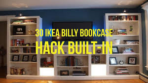 ikea shelf hack 30 ikea billy bookcase hack built in youtube