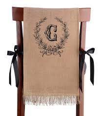 burlap chair covers set of 2 burlap chair covers leaf monogram