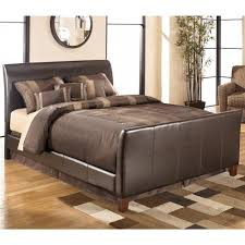 Tufted Sleigh Bed Signature Design By Ashley Stanwick Queen Faux Leather Upholstered