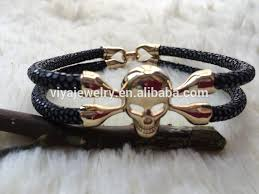 mens bracelet with skull images 2015 high end genuine leather handmake men bracelet skull luxury jpg