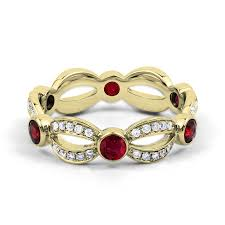 gold eternity ring 18ct yellow gold ruby diamond designer eternity ring band