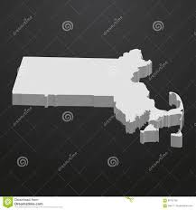 Massachusetts State Map by Massachusetts State Map In Gray On A Black Background 3d Stock