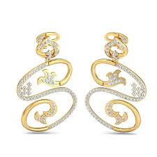 modern s shape diamond earrings