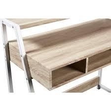 bureau chene clair bureau scandinave mélaminé décor chene clair pieds métal blanc