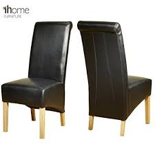 Scroll Back Leather Dining Chairs 1home Leather Dining Chairs Scroll High Top Back Oak Legs
