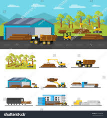 Wooden Material Element Industrial Wood Production Concept Different Elements Stock Vector