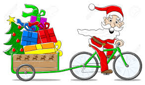vector illustration of santa claus on bicycle delivering christmas
