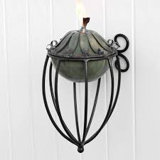 long leaf zinc patio torch with medieval wall bracket verde