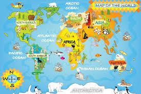 Detailed World Map Childrens World Map Wallpaper Wall Decor