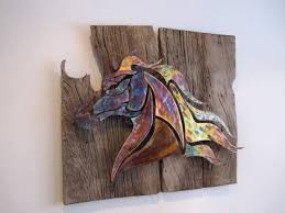 saatchi painted on barn wood sculpture