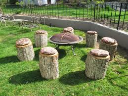 Firepit Seating Sew Many Ways Turn Tree Stumps Into Pit Seating