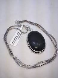 new necklace chain images New black onyx pendant necklace chain german silver pocatello market jpg