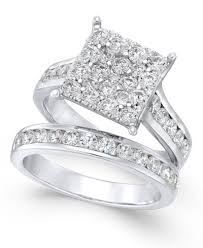 white gold bridal sets diamond square cluster bridal set 2 ct t w in 14k white gold