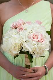 White Hydrangea Bouquet White And Pink Pastel Wedding Flowers