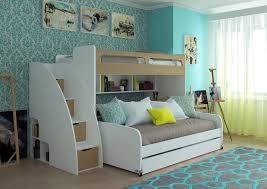 Bunk Bed For Small Spaces Room Modern Futon Bunk Bed With Table And Trundle Bunk