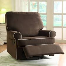 Reclining Rocking Chair Nursery Terrific Ella Brown Fabric Nursery Swivel Glider Recliner Chair
