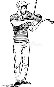 sketch of a street violinist stock vector image 93800051