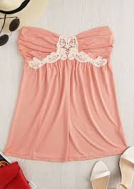 strapless blouse ruched lace splicing strapless blouse bellelily