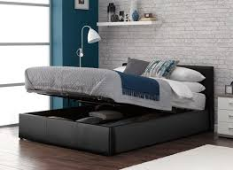 Double Faux Leather Bed Frame by Home Design Black Leather Double Bed Frame Within 79 Appealing