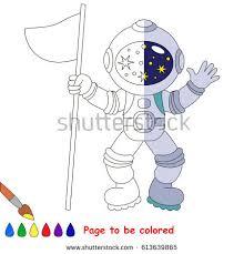 spaceman coloring book educate preschool kids stock vector