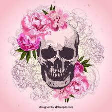 skull and flowers vector free