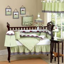 Organic Baby Bedding Sets by Light Green Bedding Set For Espresso Wooden Crib And White Shade