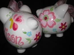monogrammed piggy bank personalized piggy bank trivoli garden butterfly flower