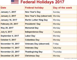 us postal service holidays for 2017 best 2017