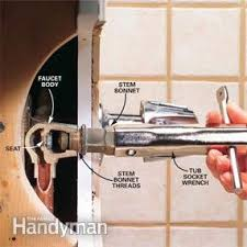 How To Repair A Leaking Tub Faucet Family Handyman - Leaky faucet bathroom 2
