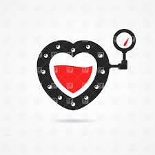 heart icon in steampunk style with blood inside and gauge vector
