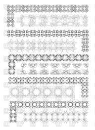 ornamental corners ruleline and border lines vector clipart image