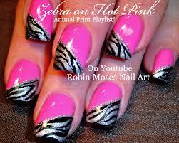 Robin Moses Nail Art by Robin Moses Nail Art Pink Nails With Black And Silver Zebra