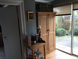 wall painted in little greene mid lead and woodwork in colourtrend