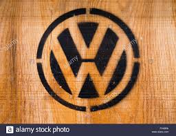volkswagen logo a wooden crate featuring a volkswagen logo pictured at the