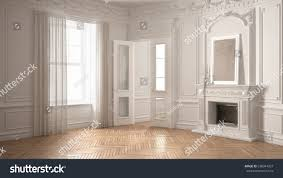 classic empty room big window fireplace stock illustration