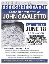 where to shred papers for free illinois state representative cavaletto rep cavaletto hosts
