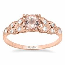 pink morganite pink gold and morganite diamond leaf accented engagement ring