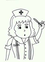 nurse taking care of patient medical health colouring page