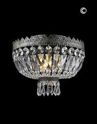 Czech Crystal Chandeliers Royal French Basket Chandelier Flush Mount Antique Silver W