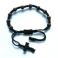 knotted rosary bracelet brown rosary bracelet with knotted cord st patricks guild