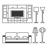 vector illustration monochrome sketch of a table lamp u2014 stock