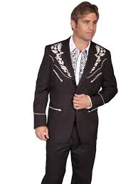 scully mens black floral embroidered western sport coat