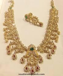 light weight gold necklace designs light weight gold cz stone necklace design necklace collections