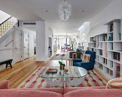 open space house colorful home design for booklovers and cats in brooklyn ny